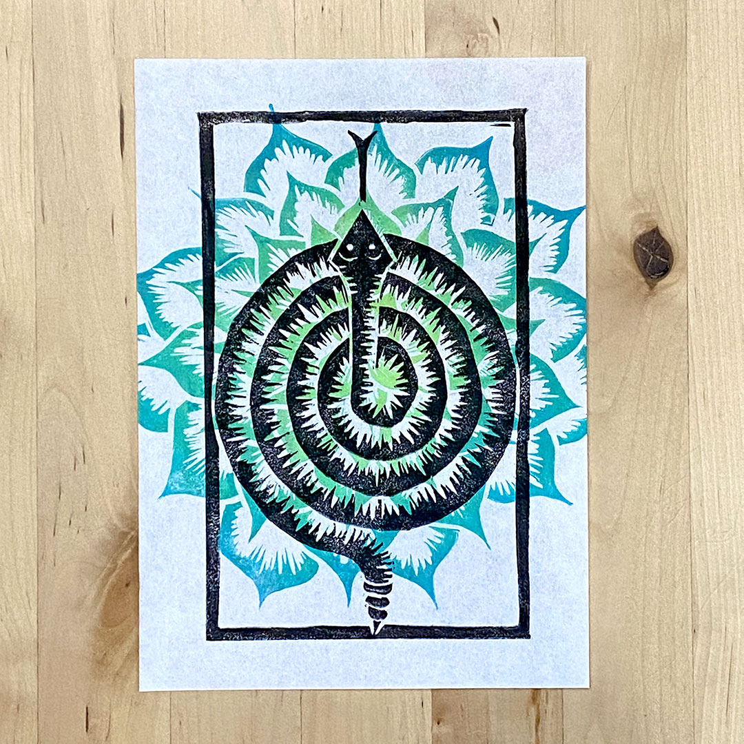 linocut print of a coiled snake over a neon succulent